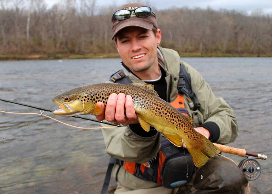 catching brown trout in winter