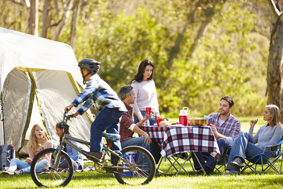 two families camping