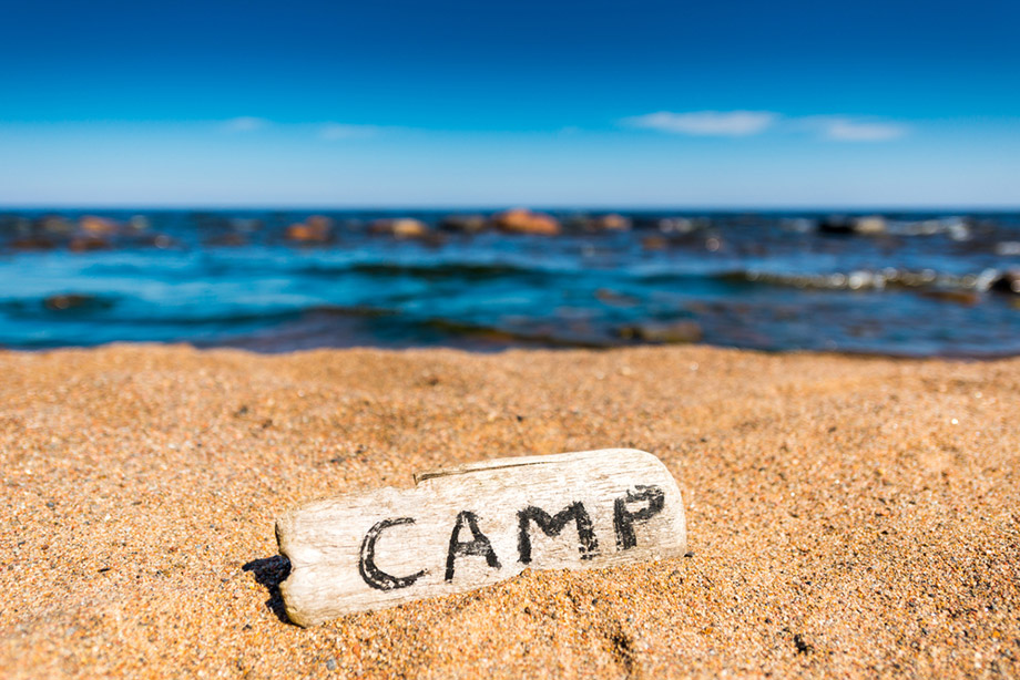 camp sign beach