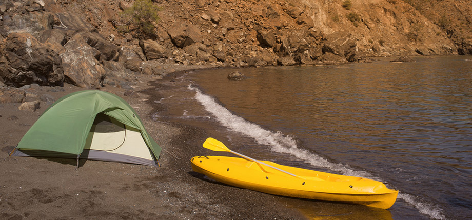 kayak camping beach