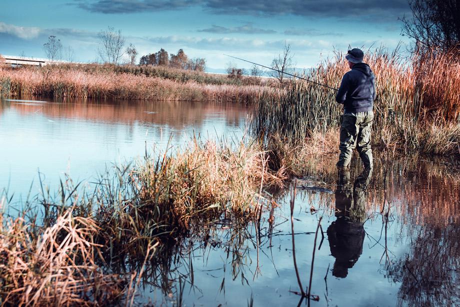 man fishing waders