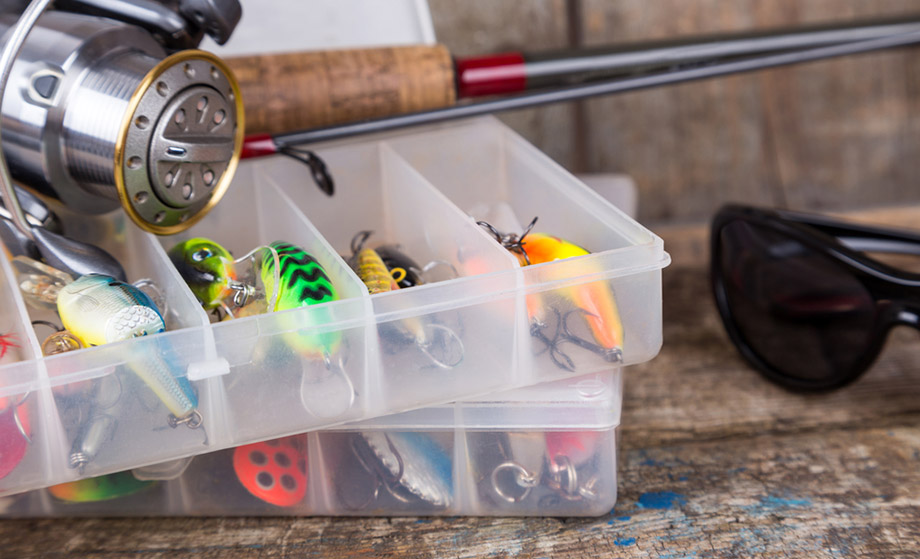 plastic fishing lures in box