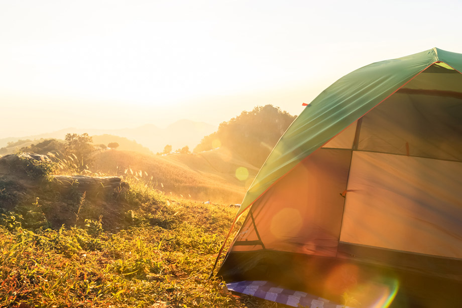 camping tent in the sun