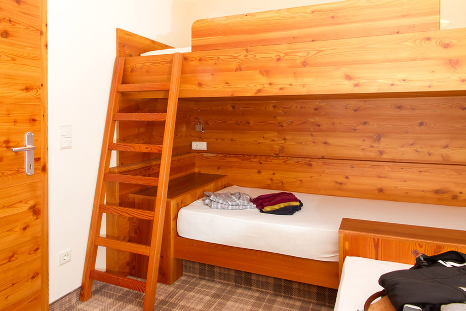 hostel room and beds