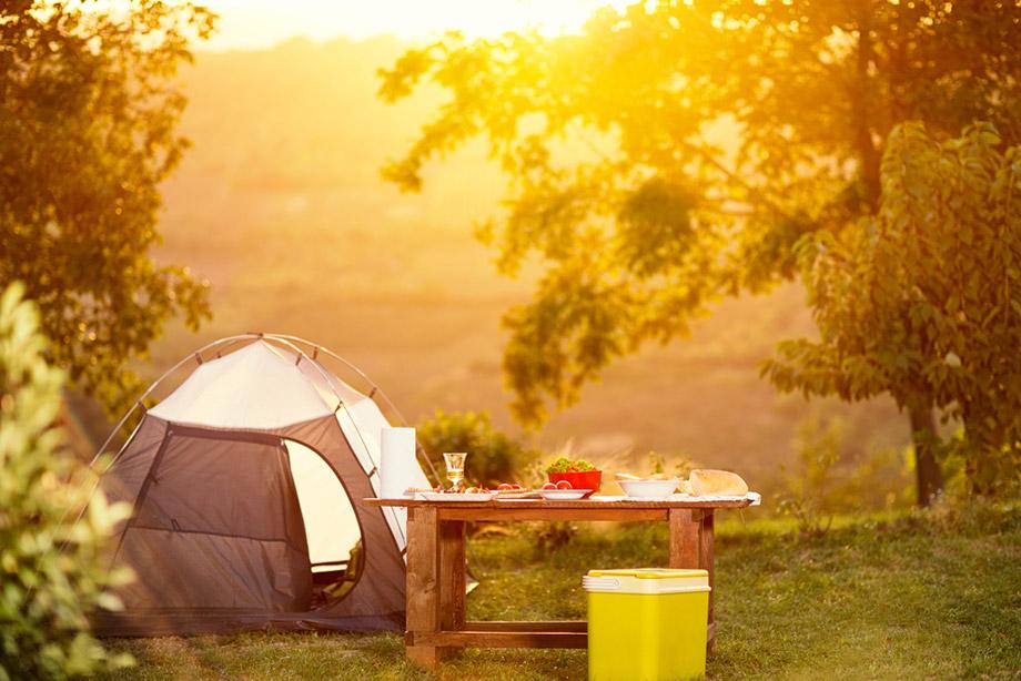 Sun setting over campsite
