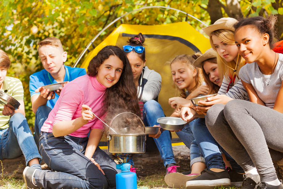 camping teenagers