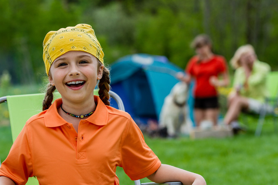 Girl Happy Camping