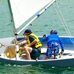 Dad And Son Dinghy Sailing
