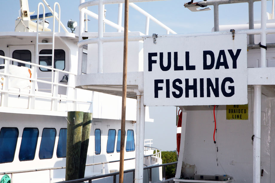 Fishing Charter Sign Reads Full Day Fishing