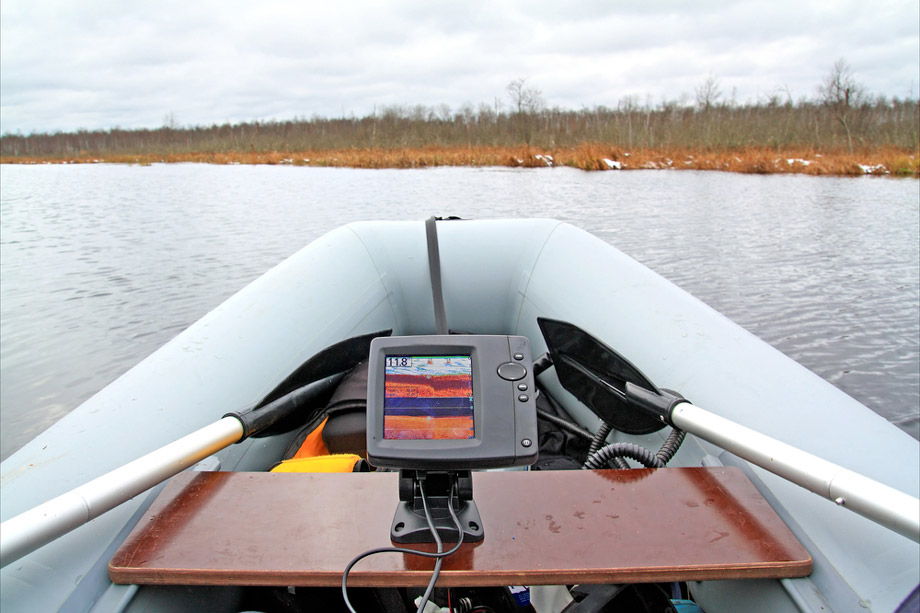 Small Fishfinder On Inflatable Dinghy