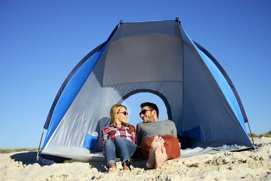 Couple Happy In Beach Tent