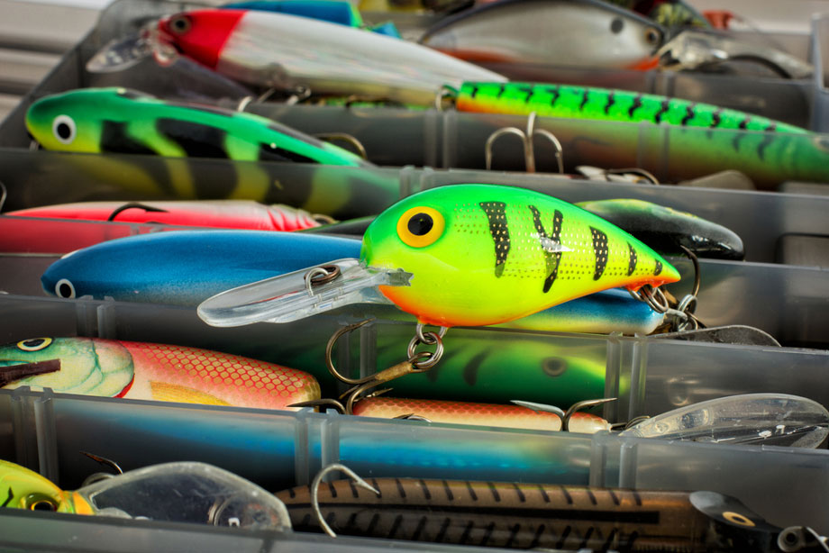 Close Up View Of Lures In Tackle Box