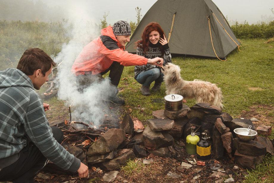 Friends Camping In Winter
