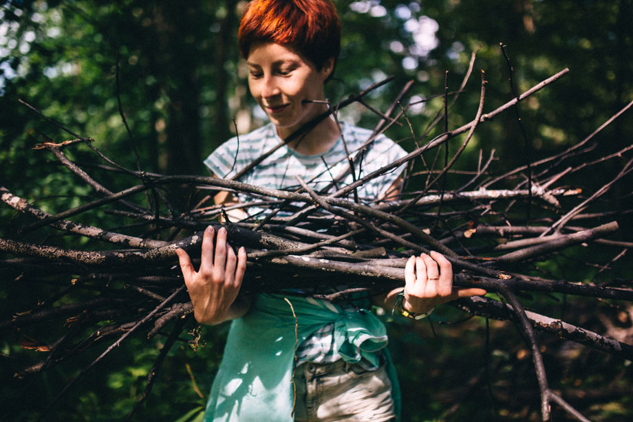 Woman Collecting Firewood