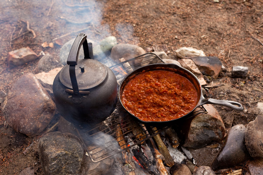 Cooking On Campfire With Cast Iron