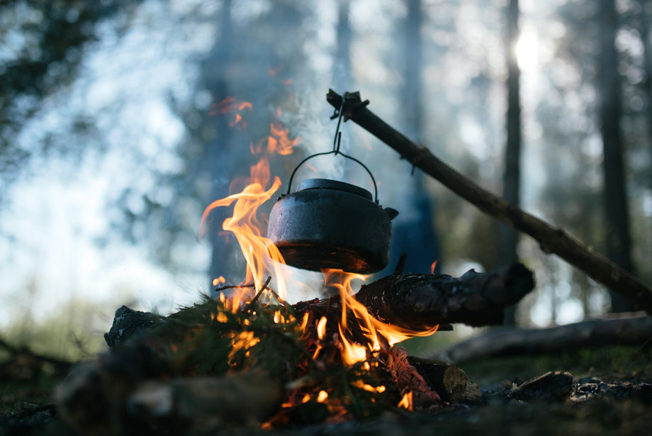 Cooking Pot On Campfire