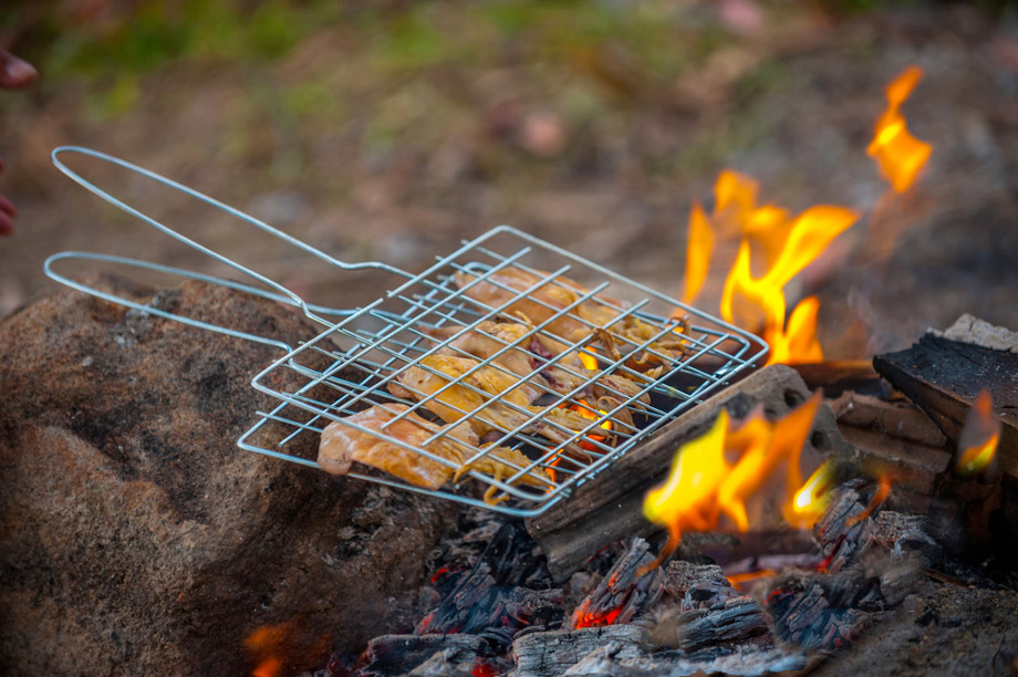 Cooking Meat In Open Campfire
