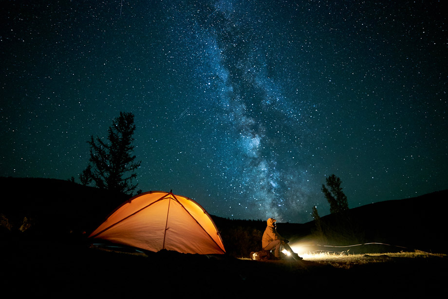Man Camps Alone Out Under The Stars