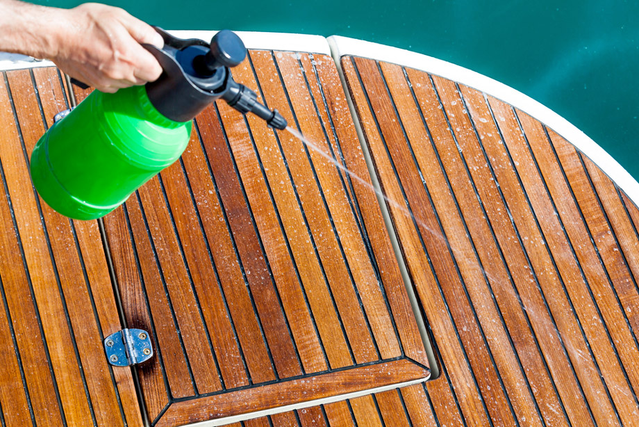 Man Washing Boat Deck