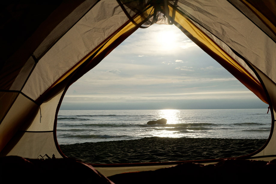 View Of The Sea From Beach Inside Tent